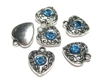Antique Silver Heart with Blue Rhinestone Charms Pendants 12mm