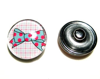 1pc 18mm Silver Tone Bowtie Round Snap Buttons Charms