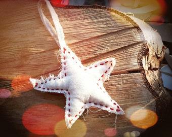 Handmade Scandinavian Inspired Recycled Canvas Fabric Christmas Winter Star Decoration