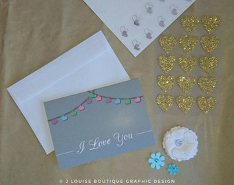 Pastel Heart Bunting   Love Card