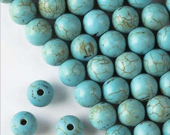 Large Hole Turquoise Howlite 10mm Round Beads with 2.5mm drilled hole
