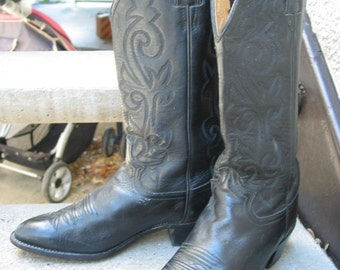 Justin Used Black Leather Cowboy Boots 8.5 C