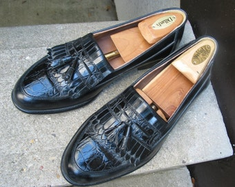 BOSTONIAN Used Black Leather Dress Loafers 8 M