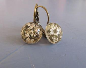Echter Blüten Ohrringe vintage Ohrhänger Brisuren Bronze