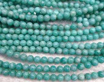 A+ Natural Russian amazonite Beads round Ball Amazon gemstone, semi-precious stone, green color DIY beads 4-12mm full strand