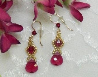 Beaded Swarovski earrings,Crystal earrings,Ruby earrings,Beaded jewelry,Ruby jewelry,Crystal jewelry