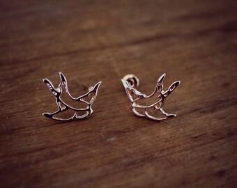 Delicate Swallow Earrings   Dainty Bird Jewelry   Rose Gold