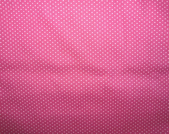 CLEARANCE - Hot pink and white polka dot print cotton fabric