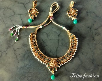 Indian jewelry, Tribal fusion, goddess Indian necklace