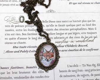 Necklace Cabochon glass Fox