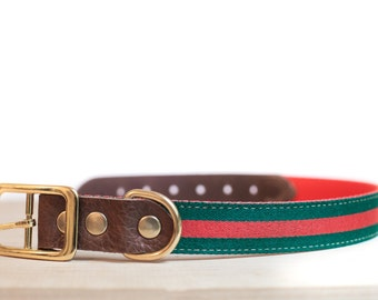 Custom Leather Red/Green Dog Collar. Italia 1""