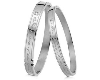 Custom Engraved Couple's Bracelets - Our Flames of Love (Silver)