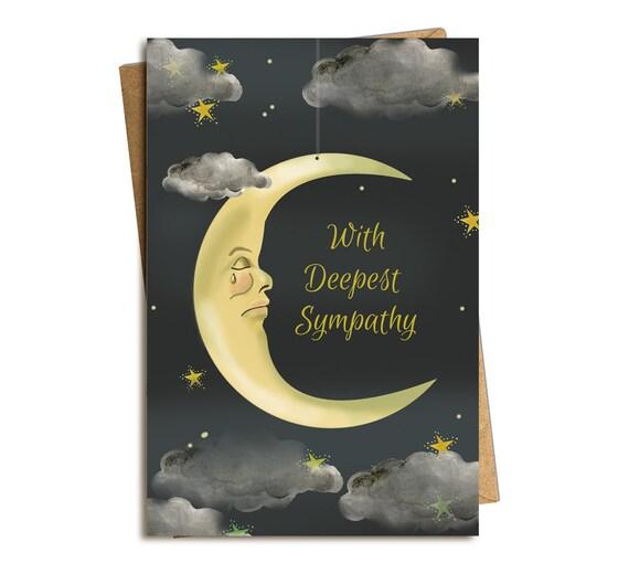 Sympathy Card. Crying Moon.