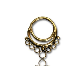 Septum piercing nose rings rings double sheet brass 1 mm antique gold-tone earring (BN-75)