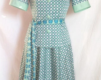 Together, top short sleeves and skirt, white and green, handmade, T 36 / 38.