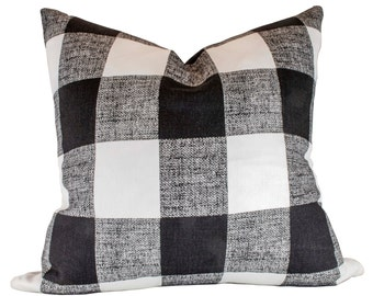 Buffalo Check Pillow Cover - Premier Prints Anderson Black Pillow Cover - Made to Order in Over 20 Sizes with Invisible Zipper
