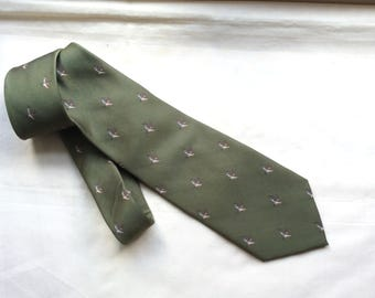 Vintage countryman's duck theme green Tie by Bisley Country Products.