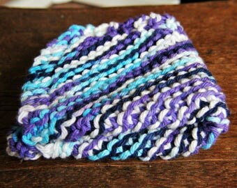 Handmade Cotton Dish Cloth  - Knit Wash Cloths - Bath Shower - Moondance Blue Purple White - Ready to Ship