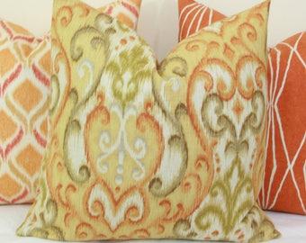 """Orange green yellow ikat decorative throw pillow cover. 18"""" x 18"""". 20"""" x 20"""".22"""" x 22"""". 24"""" x 24"""".26"""" x 26"""". lumbar sizes"""