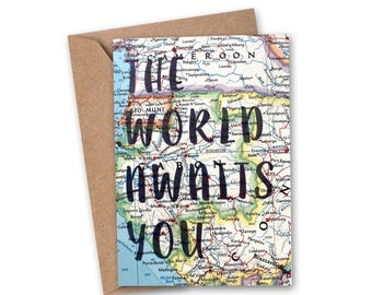 The World Awaits You Card - Graduation Card - Farewell Card - Congratulations Card - Love Card - Travelers Card - Vintage Map Card - VM-010