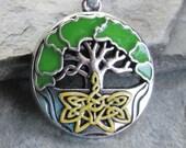 Celtic Tree Theme Pendant Components, Tree Of Life Destash, Jewelry Supply, Destash Supplies, Enameled Green & Yellow, Large Charm Pendants