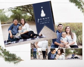 Christmas Photo Card - Holiday Card - Navy Blue Christmas Card - Peace On Earth - Collage Christmas Card - Double Sided - Christmas Postcard
