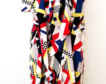 Geometric Drape dress in Red mix