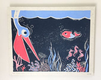 Original linocut from childrenbook (Page 12)
