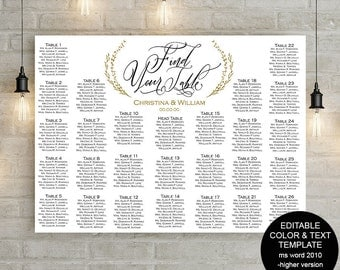 DIY, Wedding seating chart, Printable seating chart template, editable, instant download, poster, find yous table, S21