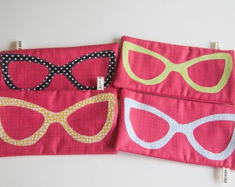 Choice of Pretty Handmade Glasses/Sunglasses Case/Pouch with Button Closure