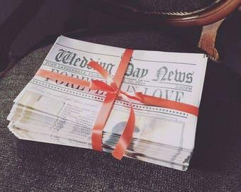 50% DEPOSIT listing for 120 custom newspaper wedding program