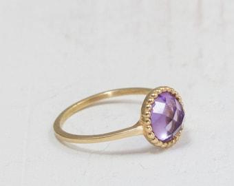 Amethyst ring gold - dainty gold ring - jewelry - Purple stone ring - february birthstone - amethyst jewelry -