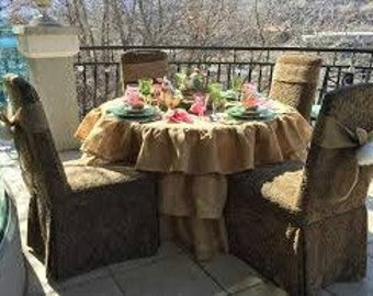 "Round Burlap Tablecloth - Burlap Tablecloth - Ruffled Tablecloth - Burlap Ruffled Tablecloth - 65"" Diameter"