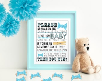 Blue Clothespin Bowtie Game for Baby Shower 5x7 & 8x10 PDF  Instant download printable