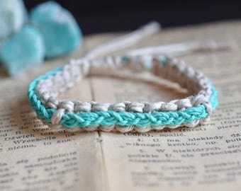 Braided Hemp Bracelet. Custom Colours. Hemp Anklet. Hippie Bracelet. Boho Jewelry. Natural Jewelry. Eco-Friendly.