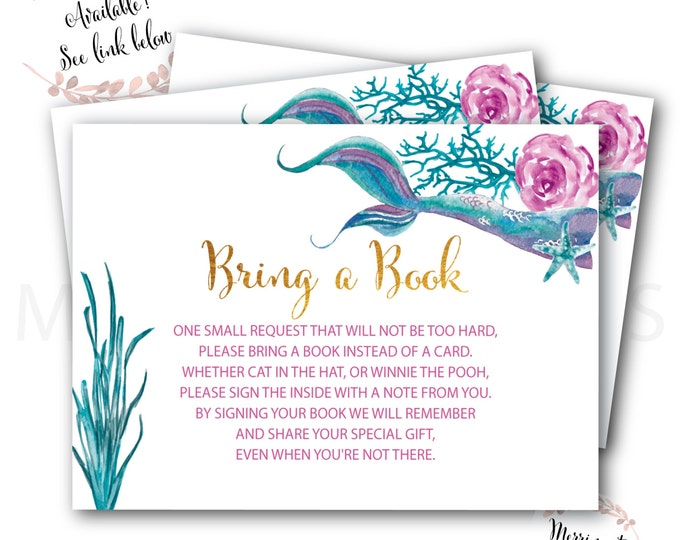 Mermaid Bring a Book instead of a Card // Mermaids // Watercolor // Gold // Baby Shower // Instant Download // QUEENSLAND COLLECTION