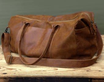 Leather weekender | Etsy