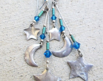 Vintage sterling Silver Stars Crescent Moon Dangle Earrings, Blue Green