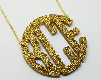 "XL 2.5"" Gold Glitter Acrylic Monogram Necklace"