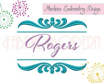 Split frame monogram or name border Machine Embroidery Design, flourish calligraphy border and monogram frame set