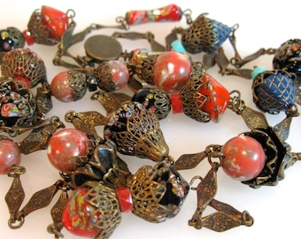 Antique Millefiori Bead Bronze Glass Flapper Bohemian Necklace
