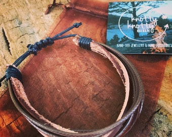 Brown Multi Strand Adjustable Unisex Bracelet