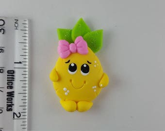 Smiley Pineapple.  Clay Charm Bead, Scrapbooking, Bow Center, Pendant.