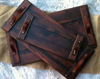 Reclaimed Wood Tray Leather Handle Large