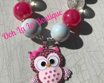 Pink Girlie Owl Chunky Necklace