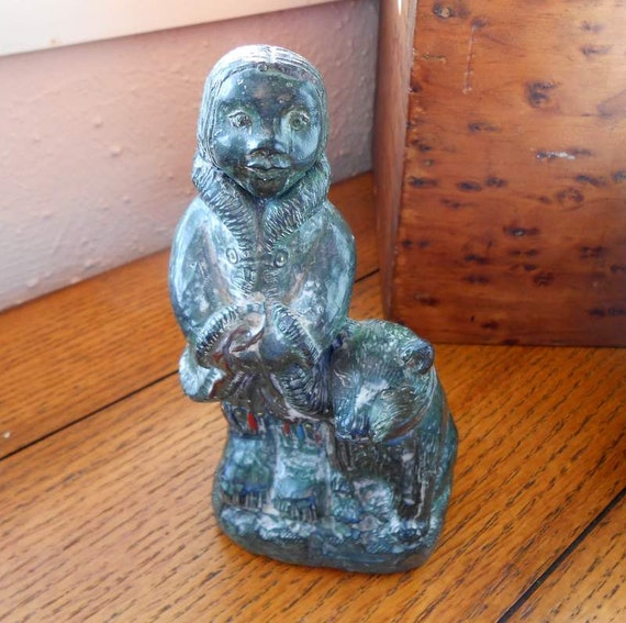 Inuit Girl And Wolf Pup A Wolf Original Green Soapstone Wolf Sculpture Made In Canada