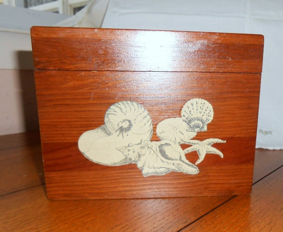 Beach Design Wood Recipe Box