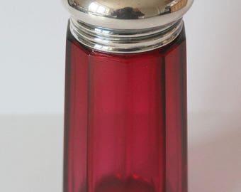 Antique Cranberry glass sugar shaker   c1900's