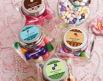 Personalized Glass Heart Candy Jar Wedding Bridal Shower Baby Party Favor 36-75 Qty  FC6736