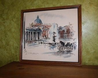 Rare John Haymson Lithograph St. Peter's Church Vatican Rome
